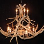 double tiered mule deer antler chandelier image